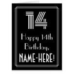 "[ Thumbnail: 14th Birthday — Art Deco Inspired Look ""14"" + Name Card ]"