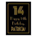 "[ Thumbnail: 14th Birthday: Art Deco Inspired Look ""14"" + Name Card ]"