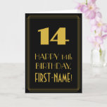 "[ Thumbnail: 14th Birthday – Art Deco Inspired Look ""14"" & Name Card ]"