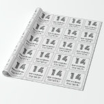 """[ Thumbnail: 14th Birthday: Art Deco Inspired Style """"14"""" + Name Wrapping Paper ]"""