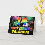 [ Thumbnail: 14th Birthday: Bold, Fun, Fireworks, Rainbow 14 Card ]