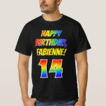 [ Thumbnail: 14th Birthday — Bold, Fun, Rainbow 14, Custom Name T-Shirt ]