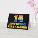 [ Thumbnail: 14th Birthday: Bold, Fun, Simple, Rainbow 14 Card ]