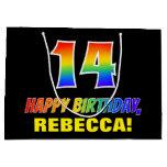 [ Thumbnail: 14th Birthday: Bold, Fun, Simple, Rainbow 14 Gift Bag ]