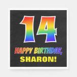 [ Thumbnail: 14th Birthday: Bold, Fun, Simple, Rainbow 14 Napkins ]