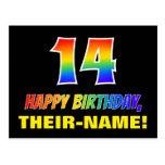 [ Thumbnail: 14th Birthday: Bold, Fun, Simple, Rainbow 14 Postcard ]