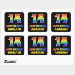 [ Thumbnail: 14th Birthday: Bold, Fun, Simple, Rainbow 14 Sticker ]