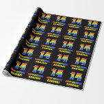 [ Thumbnail: 14th Birthday: Bold, Fun, Simple, Rainbow 14 Wrapping Paper ]