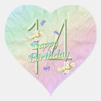 14th Birthday Butterflies and Rainbows Heart Stick Heart Sticker