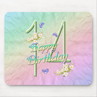 14th Birthday Butterfly Garden Mousepad