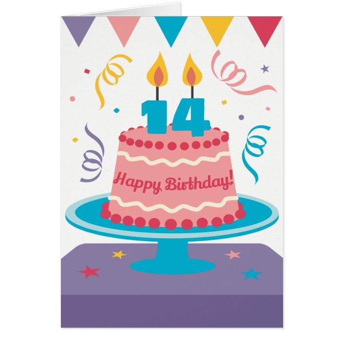Surprising 14Th Birthday Cake Zazzle Com Funny Birthday Cards Online Ioscodamsfinfo