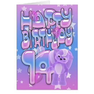 14th Birthday Card cute with little skunk