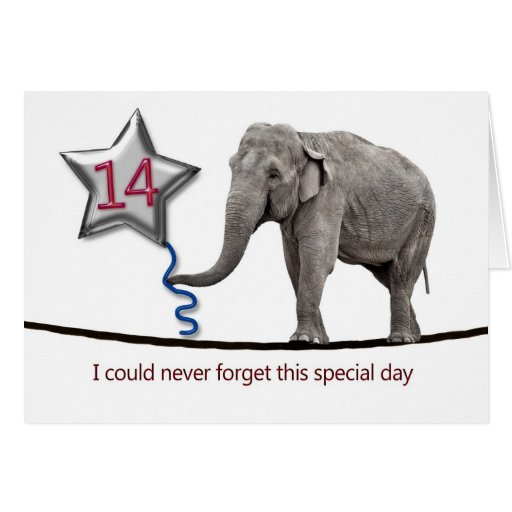 14th Birthday card with tightrope walking elephant