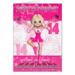 14th Birthday Cheerleader Dancing, Stars In Pinks Greeting Card