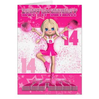 14th Birthday Cheerleader Dancing, Stars In Pinks Card