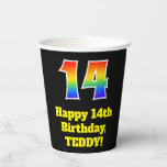 [ Thumbnail: 14th Birthday: Colorful, Fun, Exciting, Rainbow 14 ]