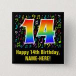 [ Thumbnail: 14th Birthday: Colorful Music Symbols, Rainbow 14 Button ]