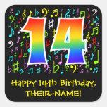 [ Thumbnail: 14th Birthday: Colorful Music Symbols, Rainbow 14 Sticker ]