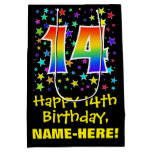 [ Thumbnail: 14th Birthday: Colorful Stars Pattern & Rainbow 14 Gift Bag ]
