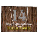 [ Thumbnail: 14th Birthday: Country Western Inspired Look, Name Gift Bag ]