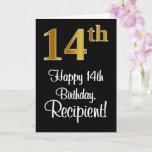[ Thumbnail: 14th Birthday ~ Elegant Luxurious Faux Gold Look # Card ]