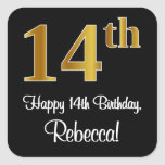 [ Thumbnail: 14th Birthday – Elegant Luxurious Faux Gold Look # Sticker ]