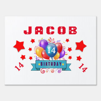 14th Birthday Festive Balloons and Red Stars 103Z Lawn Sign