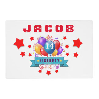 14th Birthday Festive Balloons and Red Stars 103Z Placemat