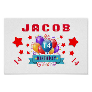 14th Birthday Festive Balloons and Red Stars 103Z Poster