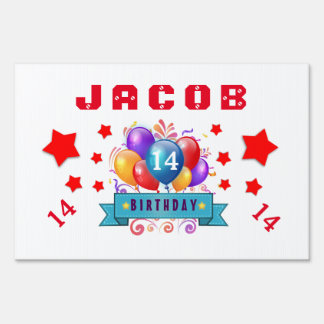 14th Birthday Festive Balloons and Red Stars 103Z Sign