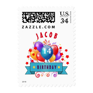 14th Birthday Festive Balloons and Red Stars 103Z Stamp