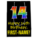 "[ Thumbnail: 14th Birthday: Fun, Bold, Colorful, Rainbow ""14"" Gift Bag ]"