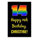 [ Thumbnail: 14th Birthday: Fun, Colorful, Happy, Rainbow # 14 Card ]