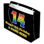 [ Thumbnail: 14th Birthday ~ Fun, Colorful, Vibrant, Rainbow 14 Gift Bag ]