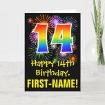 [ Thumbnail: 14th Birthday: Fun Fireworks Pattern + Rainbow 14 Card ]