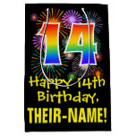 [ Thumbnail: 14th Birthday: Fun Fireworks Pattern + Rainbow 14 Gift Bag ]