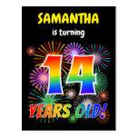 "[ Thumbnail: 14th Birthday - Fun Fireworks, Rainbow Look ""14"" Postcard ]"