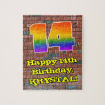 [ Thumbnail: 14th Birthday: Fun Graffiti-Inspired Rainbow 14 Jigsaw Puzzle ]