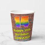 [ Thumbnail: 14th Birthday: Fun Graffiti-Inspired Rainbow 14 ]