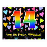[ Thumbnail: 14th Birthday: Fun Hearts Pattern, Rainbow 14 Postcard ]