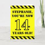 [ Thumbnail: 14th Birthday: Fun Stencil Style Text, Custom Name Card ]