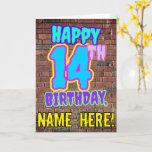 [ Thumbnail: 14th Birthday - Fun, Urban Graffiti Inspired Look Card ]