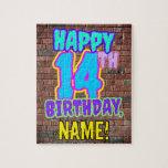 [ Thumbnail: 14th Birthday ~ Fun, Urban Graffiti Inspired Look Jigsaw Puzzle ]