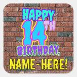[ Thumbnail: 14th Birthday – Fun, Urban Graffiti Inspired Look Sticker ]