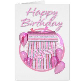 14th Birthday Gift Box - Pink - Happy Birthday Card