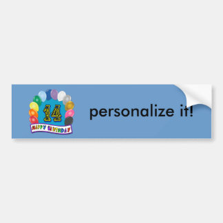 14th Birthday Gifts with Assorted Balloons Design Bumper Sticker