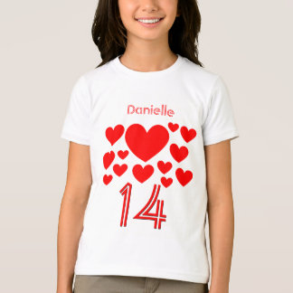 14th Birthday Girl Oodles of Hearts 14 Years T-Shirt