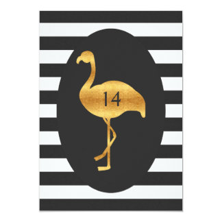 14th Birthday Gold Flamingo Black White Stripes Card
