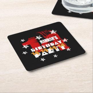 14th Birthday Grunge Black Red Gold White Stars Square Paper Coaster