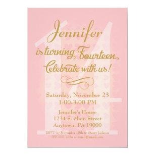Girls 14th birthday invitations zazzle 14th birthday invitation girls pink gold hearts filmwisefo